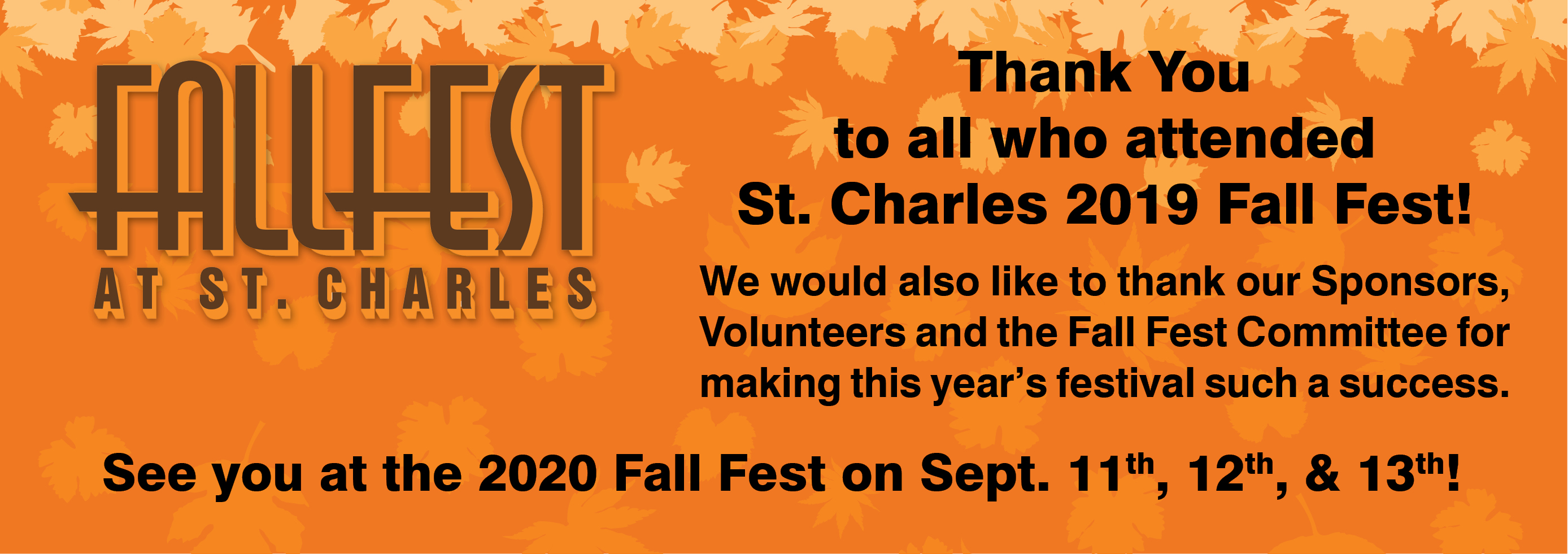 2019 Fall Fest Thank You